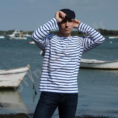 Marinière légère PECHEUR à manches longues - blanc/bleu bugati