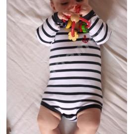 Body rayé marin pour bébé blanc rayé marine