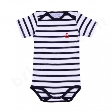 Body rayé marin manches courtes pour bébé