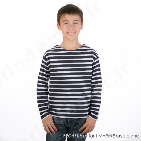 T-Shirt marin à manches longues PECHEUR sur ADO 10 ans en marine rayé blanc
