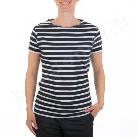 Marinière femme manches courtes REGATE - marine rayé blanc