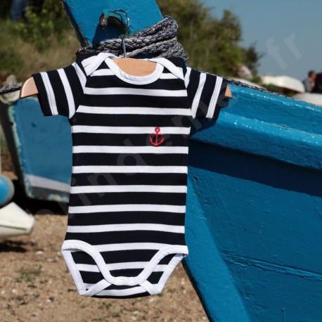 Body rayé marin manches courtes pour bébé - marine raye blanc