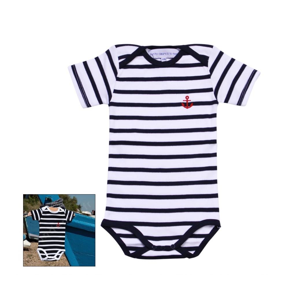 ... Body rayé marin manches courtes pour bébé - Blanc marine ou Marine blanc d45b15df853