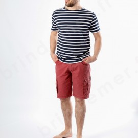 Bermuda homme toile légère 100% coton - brique et tee-shirt REGATE Hublot