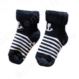Chaussettes anti-dérapantes bouclette pour enfant - motif ancre