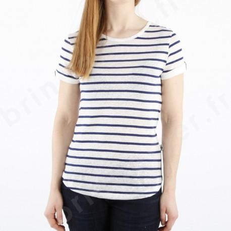 Tee-shirt marinière en lin et coton pour femme