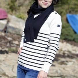 Pull marin femme Brin de Mer - écru rayé marine