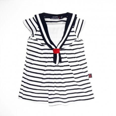 8ff083c226e Robe rayée style marin pour fille TREGUNC Petits Coeurs à la Mer