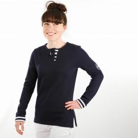 Sweat-shirt femme à bouton brandebourg