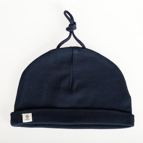 Bonnet coton pour bébé MIMI BABY marine uni