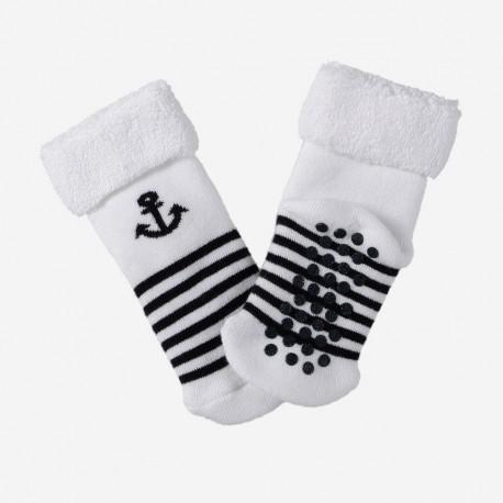 Chaussettes anti-dérapantes bouclette pour enfant - motif ancre - fond blanc