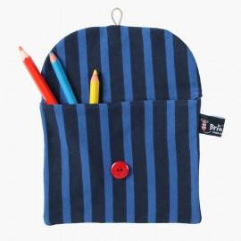 Pochette en marinière recyclée Deep Blue / bouton rouge