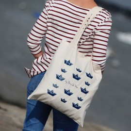 """Tote Bag """"Les Ty'Bateaux"""" édition limitée -  fond bleu marine"""