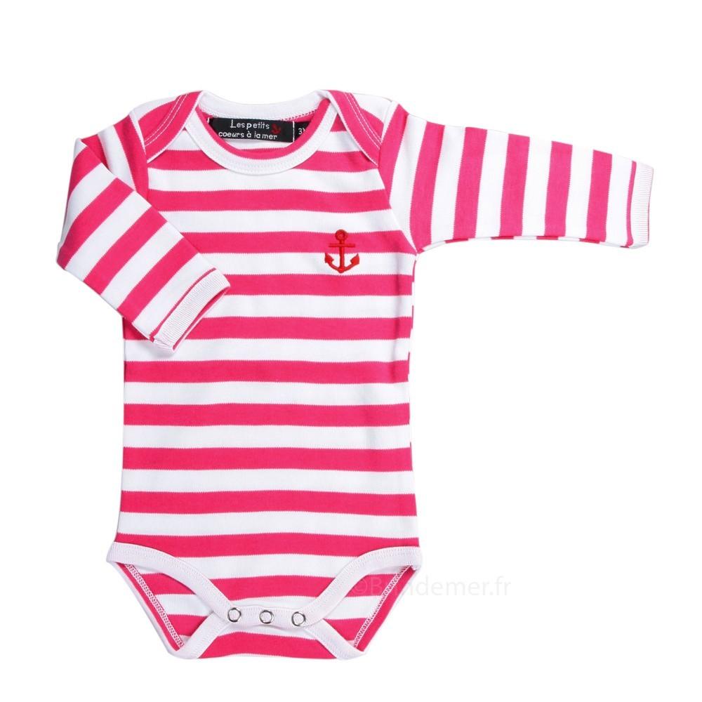 Body rayé marin manches longues pour bébé - Brin de mer 7878fe831f0