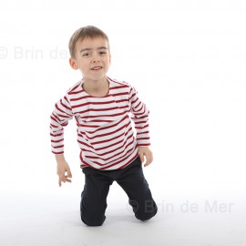 MARINIERE ENFANT - coloris écru/marine avec boutons sur l'épaule pour la gamme layette