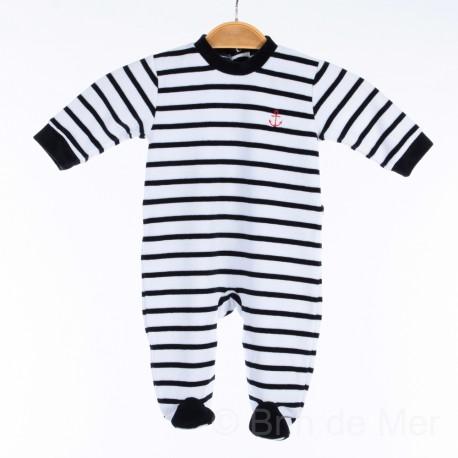 Pyjama velours - blanc rayé bleu marine