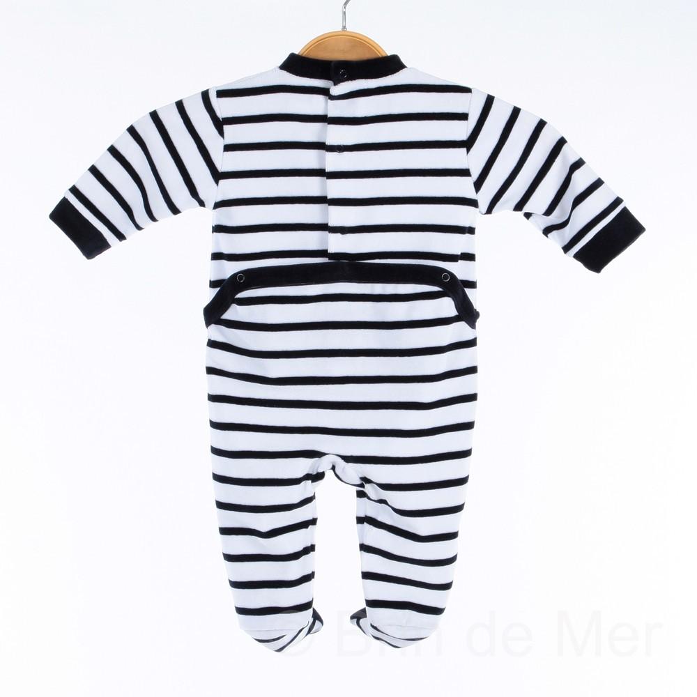Pyjama velours style marin pour bébé du 3 au 24 mois b59a132d9b1