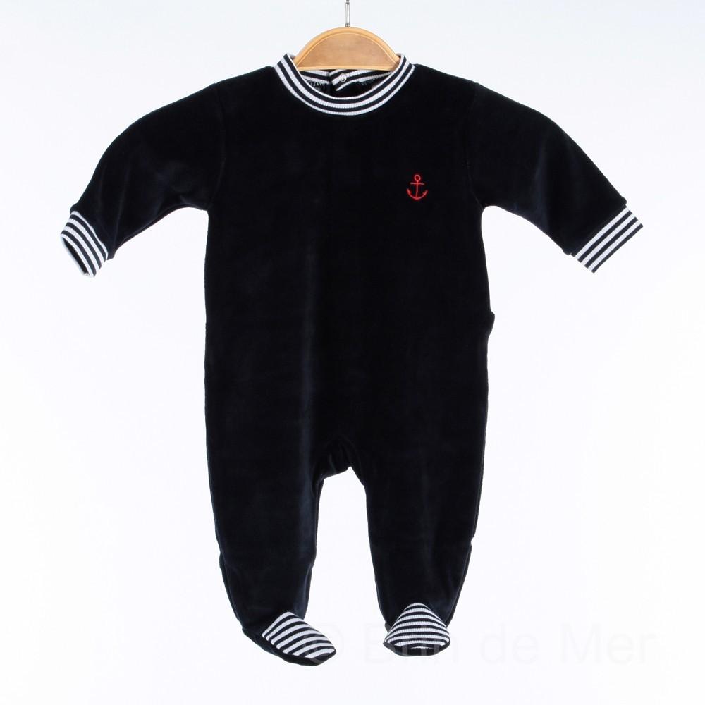 Pyjama velours style marin pour bébé du 3 au 24 mois f08c61c6d0b