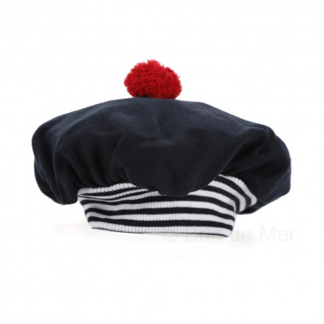 Beret marin fin - interlock 100% coton - coloris marine
