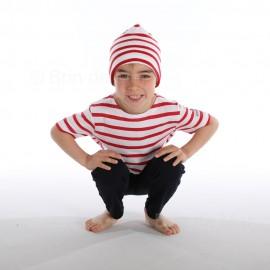 Bonnet rayé marin COTON - INTERJ - blanc/rouge