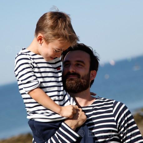 Marinière enfant LA ROCHELLE - Ecru rayé marine