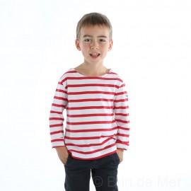 T-Shirt marin ENFANT à manches longues PECHEUR - blanc rayé rouge