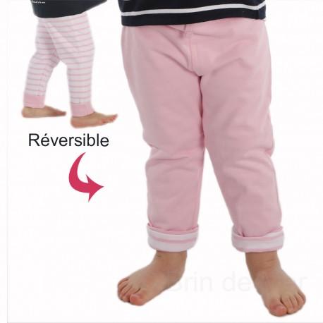 Pantalon réversible SUPER CHOUETTE blanc-rose/pastel-rose uni