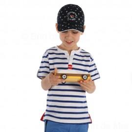 Tee-shirt rayé col tunisien pour garçon PEPITO Hublot-blanc-bugatti