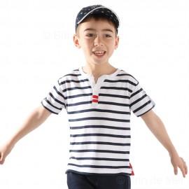 Tee-shirt rayé col tunisien pour garçon PEPITO Hublot-blanc-marine