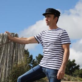 T.shirt Marinière LERNE- blanc rayé marine
