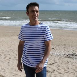 T.shirt Marinière LERNE- blanc rayé bleu