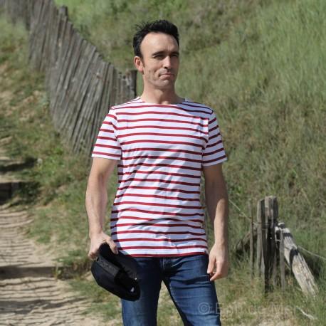 T.shirt Marinière LERNE- blanc rayé rouge