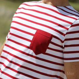 Tee-shirt rayé en jersey léger à poche - blanc/rouge