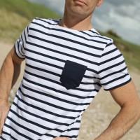 Tee-shirt rayé en jersey léger à poche
