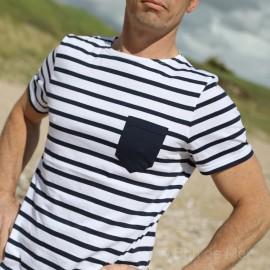 Tee-shirt rayé en jersey léger à poche - blanc/marine