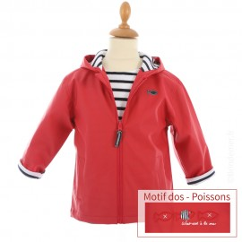 Ciré marin doublé coton HOBY6 - motif POISSON - coloris Rouge