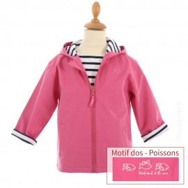 Ciré marin doublé coton HOBY6 - motif POISSON - coloris Rose Magenta