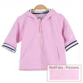 Ciré marin doublé coton HOBY6 - motif POISSON - coloris Rose Pastel