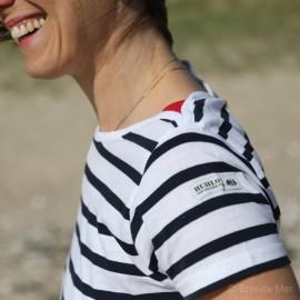 Marinière légère femme à manches courtes SOSO - blanc rayé marine