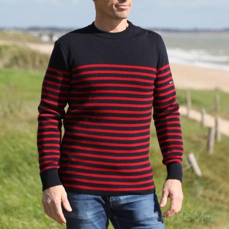 Pull marin rayé en laine douce pour Homme Saint James