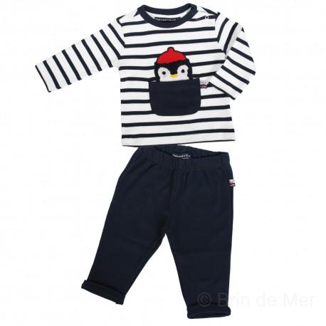 Ensemble marinière et pantalon bébé PIMPIM SET - ecru/marine