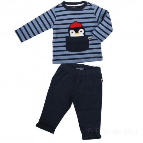 Ensemble marinière et pantalon bébé PIMPIM SET - jean/marine