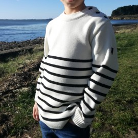 Pull marin enfant breton Brin de Mer écru rayé marine