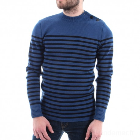 Pull marin rayé Laine douce ROCHEFORT - coloris - voyage/navy