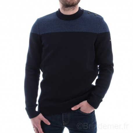 Pull marin bicolore DINAN 100% Laine - coloris Navy/voyage