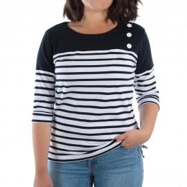 Tee-shirt marinière manches 3/4 pour femme AUDIERNE