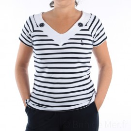 Tee-shirt rayé manches courtes à col V pour femme PLANCOËT