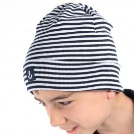Bonnet marin en coton et élasthanne LOIX - blanc rayé marine