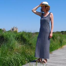 Robe longue marinière sans manches CORFOU