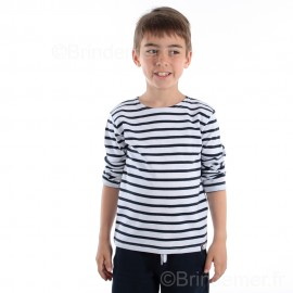 Marinière enfant ILUR coton doux - blanc rayé marine